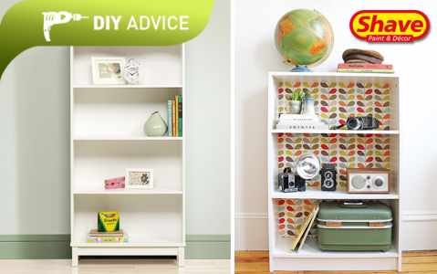 DIY Advice: What to do with Left over Wallpaper-Bookshelf